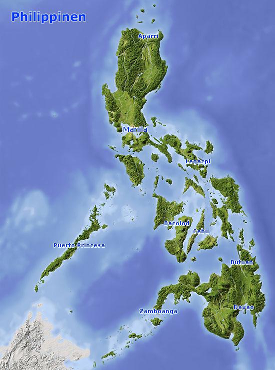 Karte Philippinen.Karte Philippinen Landkarte Und Satellitenbilder Philippinen